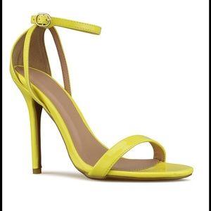 Lemon Yellow Ankle Strap Heels NEW !!